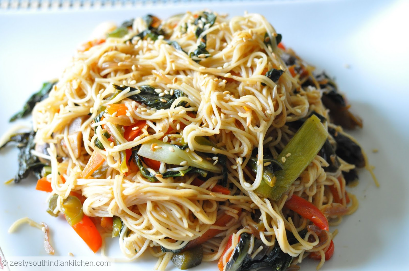 Sweet Potato Noodles Recipe  Japchae Korean sweet potato noodles with Gai lan Chinese