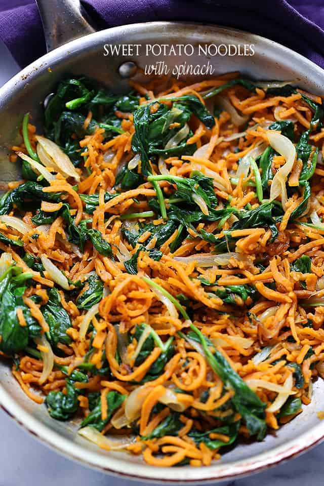 Sweet Potato Noodles Recipe  Sweet Potato Noodles with Spinach Recipe