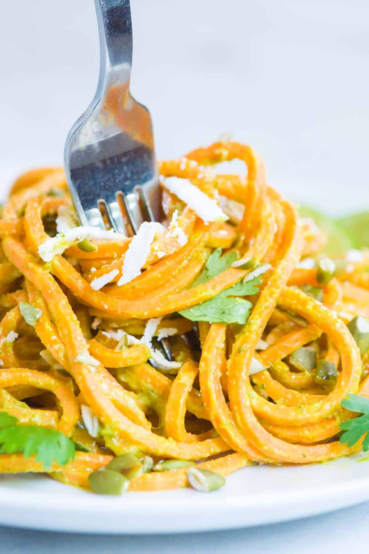 Sweet Potato Noodles Recipe  Creamy Avocado Lime Sweet Potato Noodles