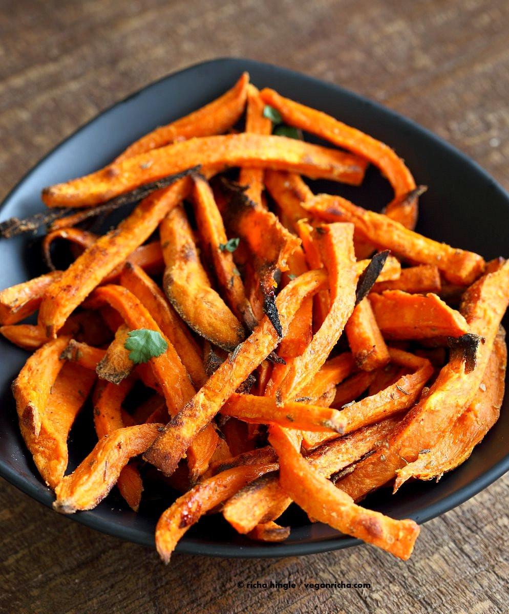 Sweet Potato Oven Fries  Baked Sweet Potato Fries with Chipotle Ranch Vegan Richa
