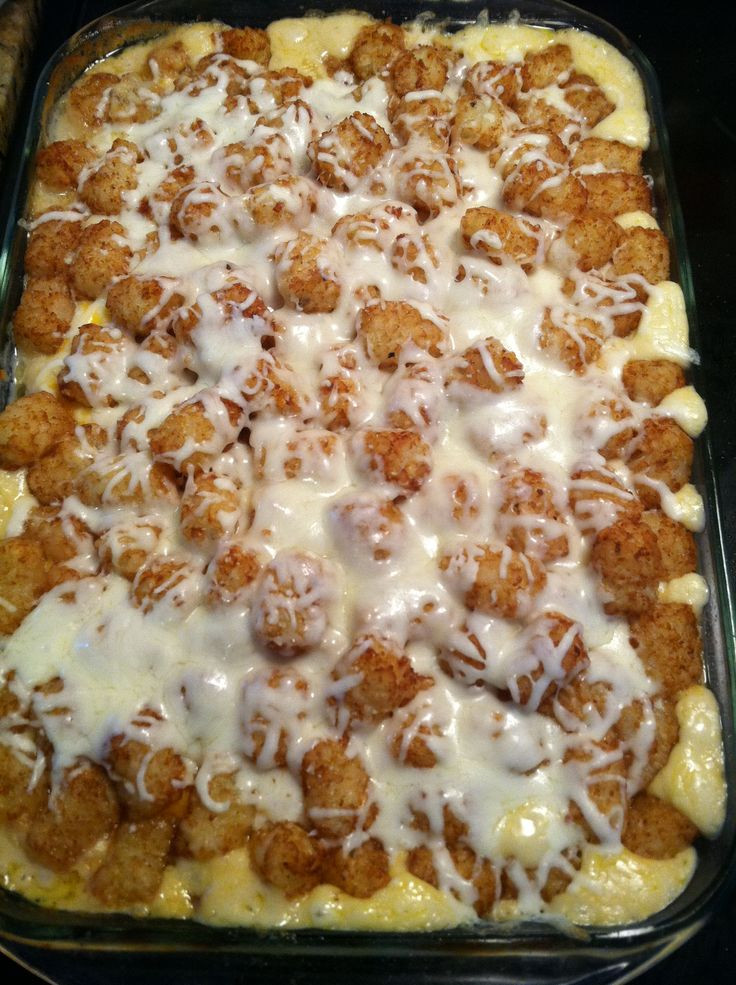 Tater Tot Casserole With Cream Of Chicken  Tater tot casserole 1 can cream of mushroom 1can cream of
