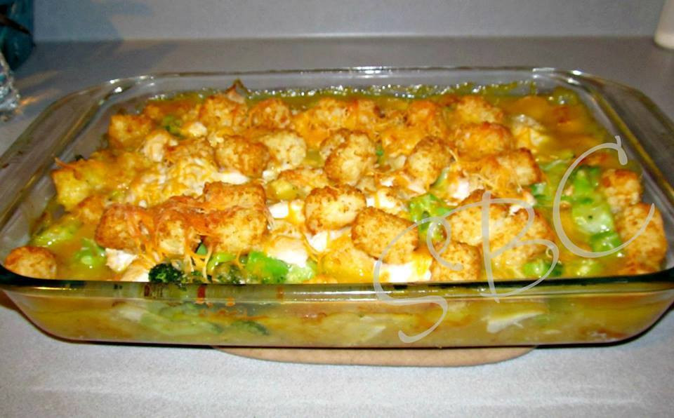 Tater Tot Casserole With Cream Of Chicken  Cheesy Chicken Broccoli & Tater Tot Bake
