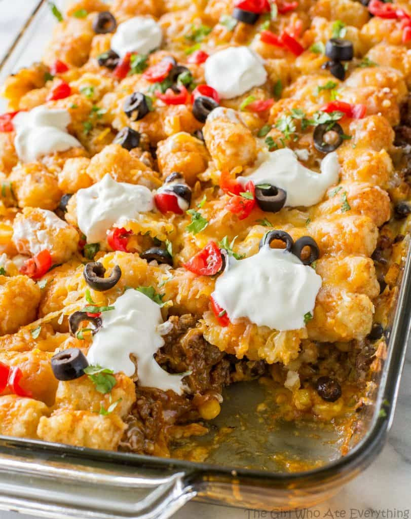Tater Tots Casserole  Tater Taco Casserole The Girl Who Ate Everything