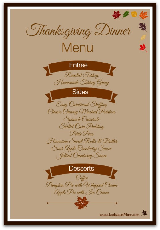 Thanksgiving Dinner List  42 Items for Your Thanksgiving Dinner Shopping List Toot