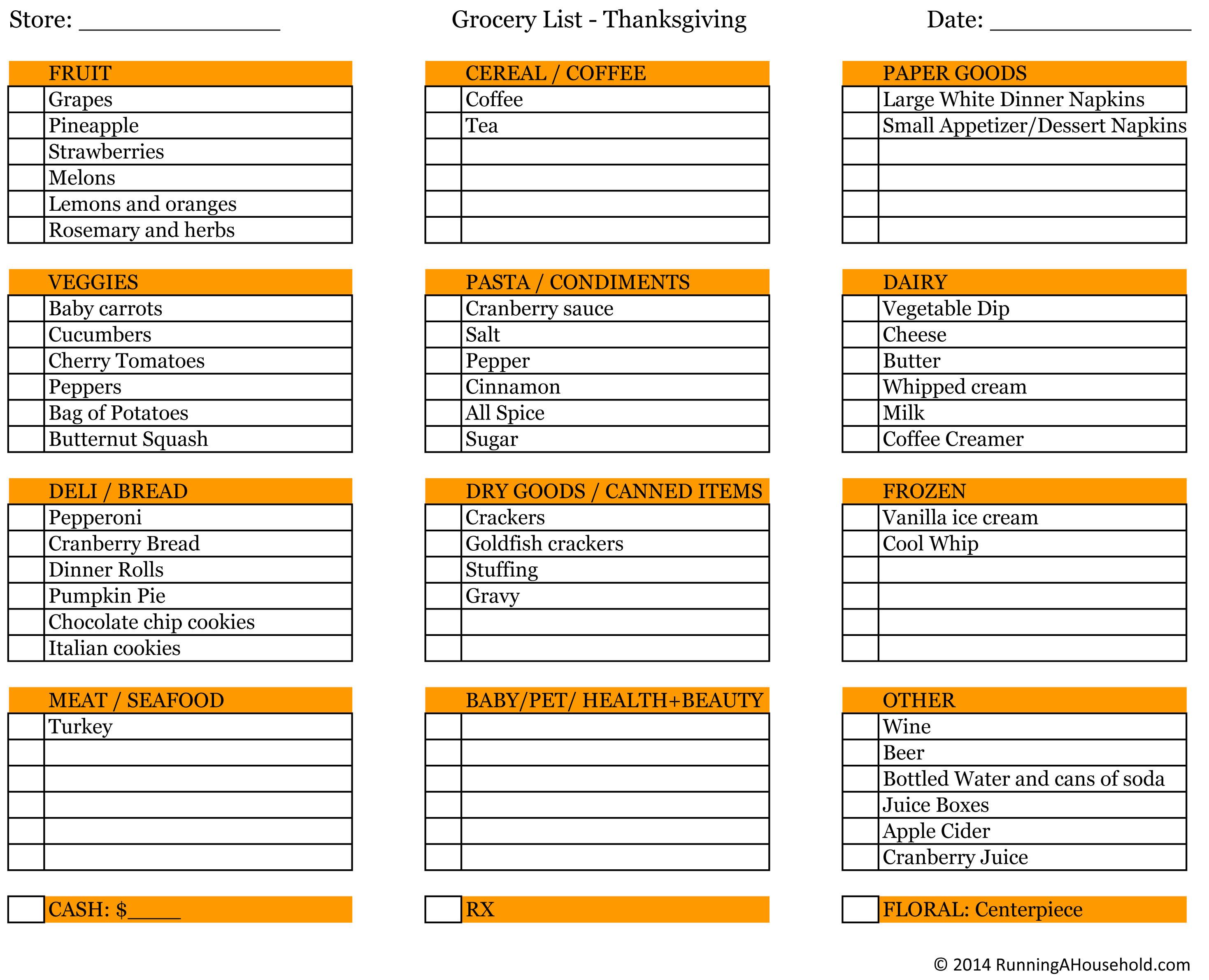 Thanksgiving Dinner List  Planning Thanksgiving Dinner Running A Household