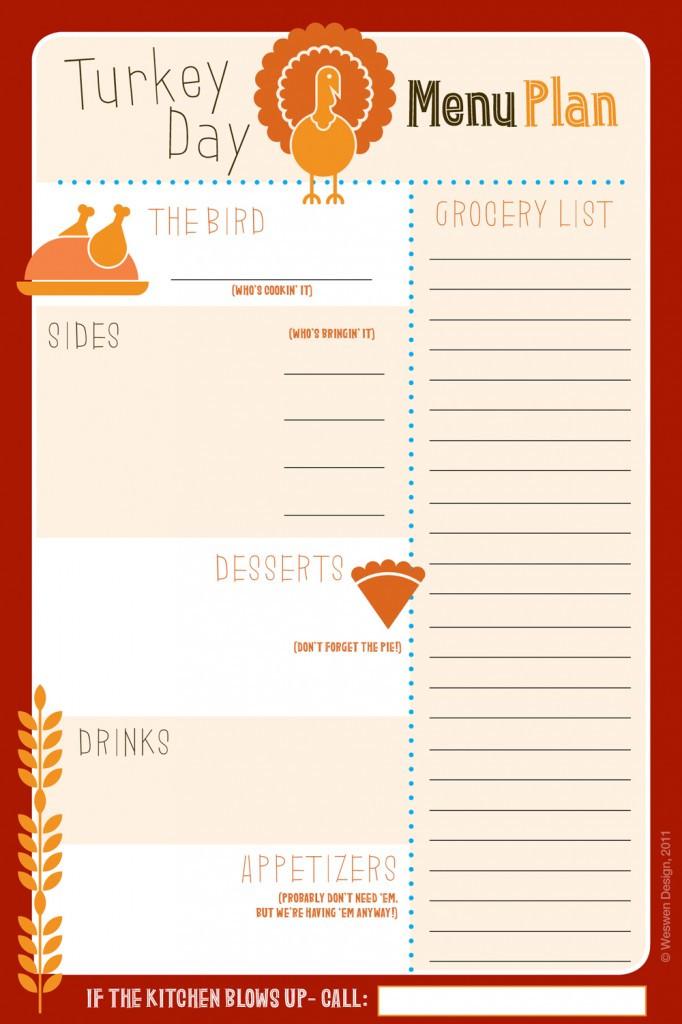 Thanksgiving Dinner List  6 Best of Thanksgiving Printable List
