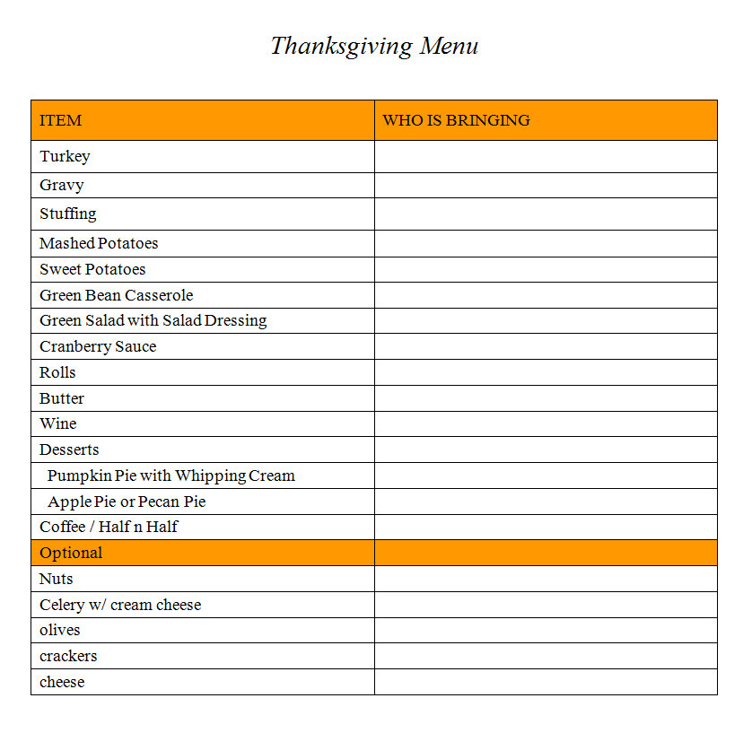 Thanksgiving Dinner List  List of holiday cadillac