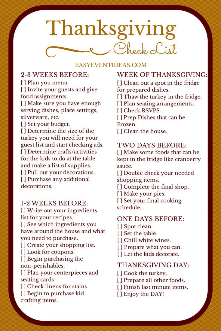 Thanksgiving Dinner List  thanksgiving