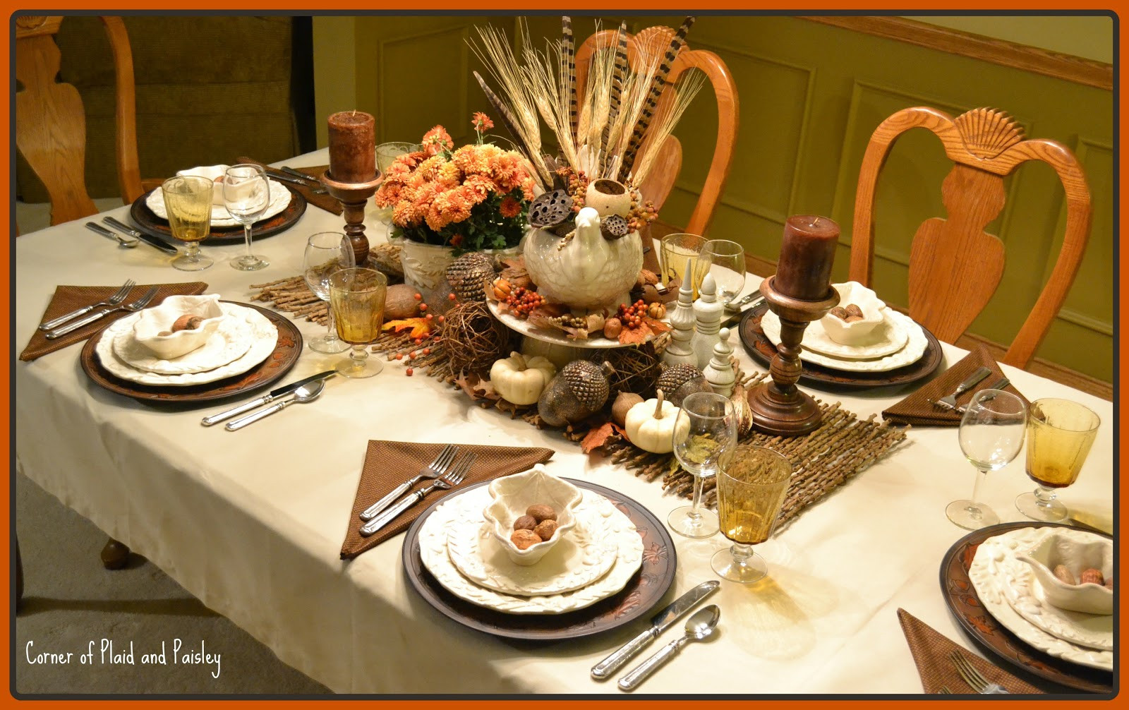 Thanksgiving Dinner Table  Corner of Plaid and Paisley Thanksgiving Table Not the