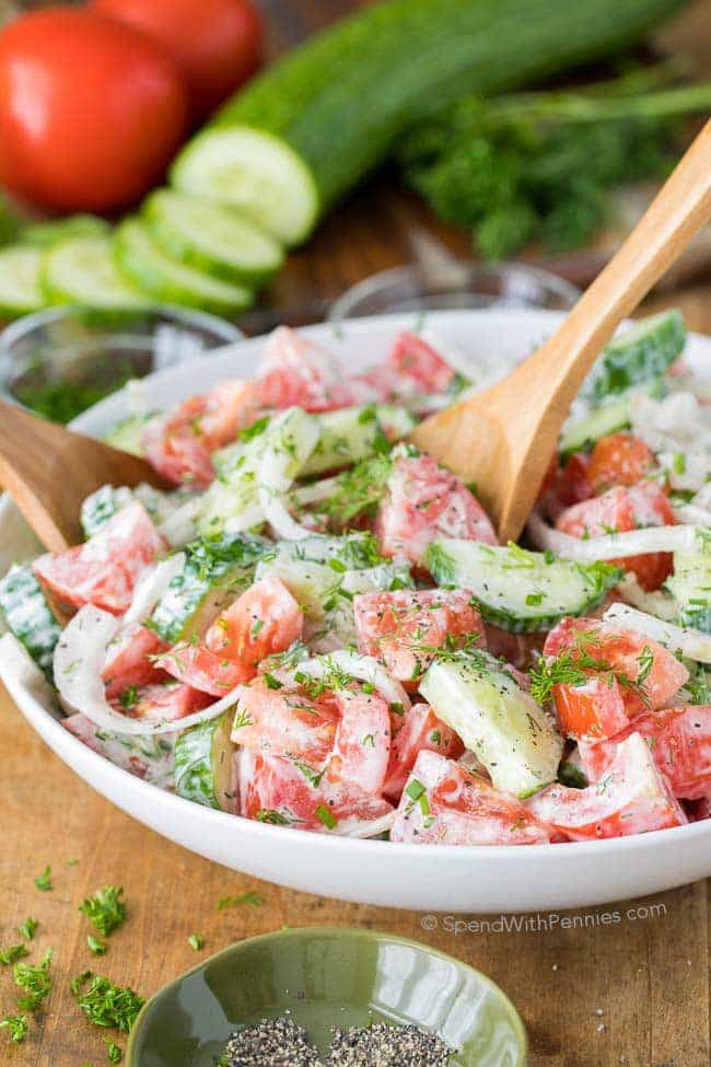 Tomato Salad Recipe  Creamy Cucumber Tomato Salad Spend With Pennies