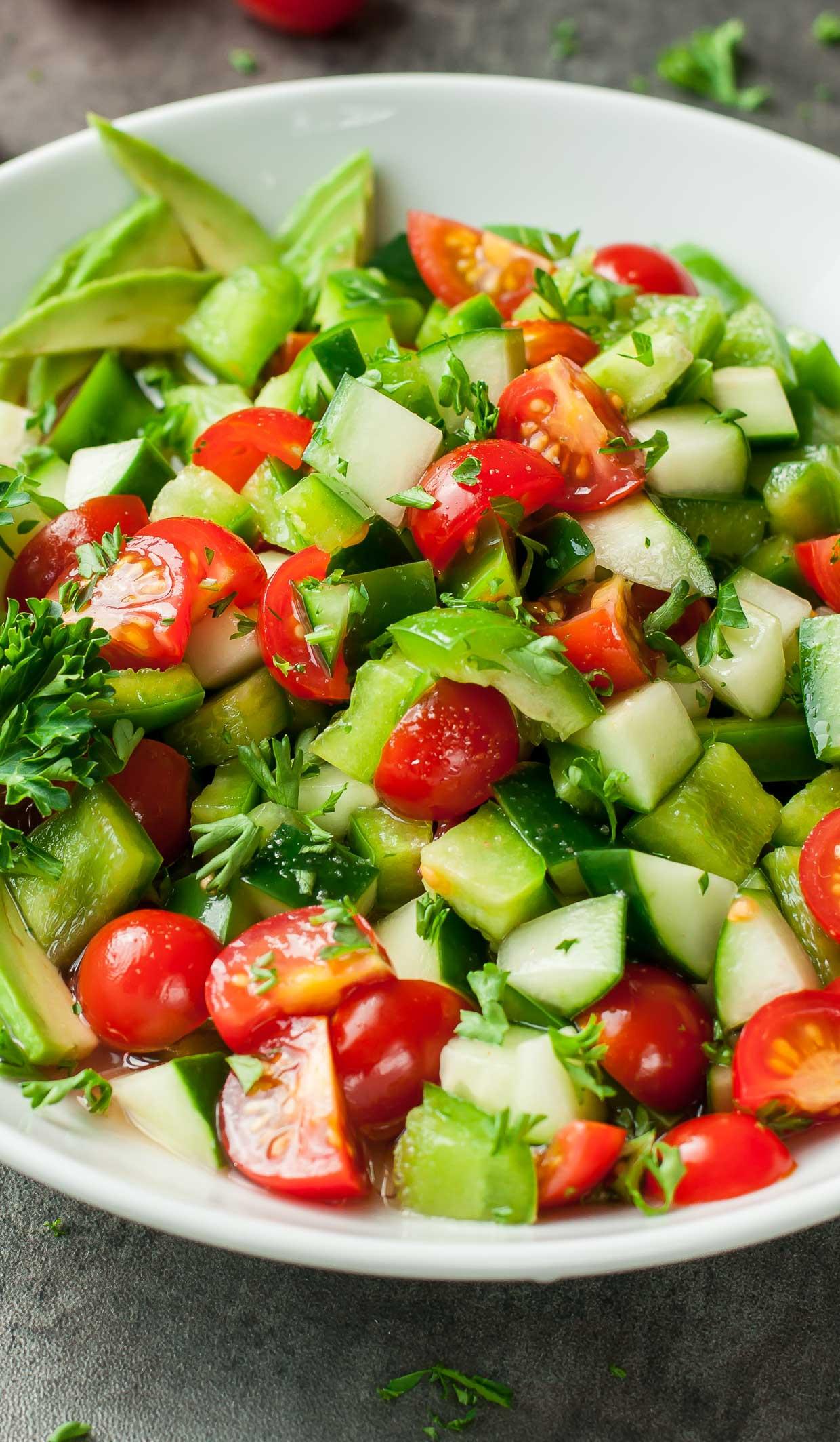 Tomato Salad Recipe  Healthy Tomato Cucumber Avocado Salad
