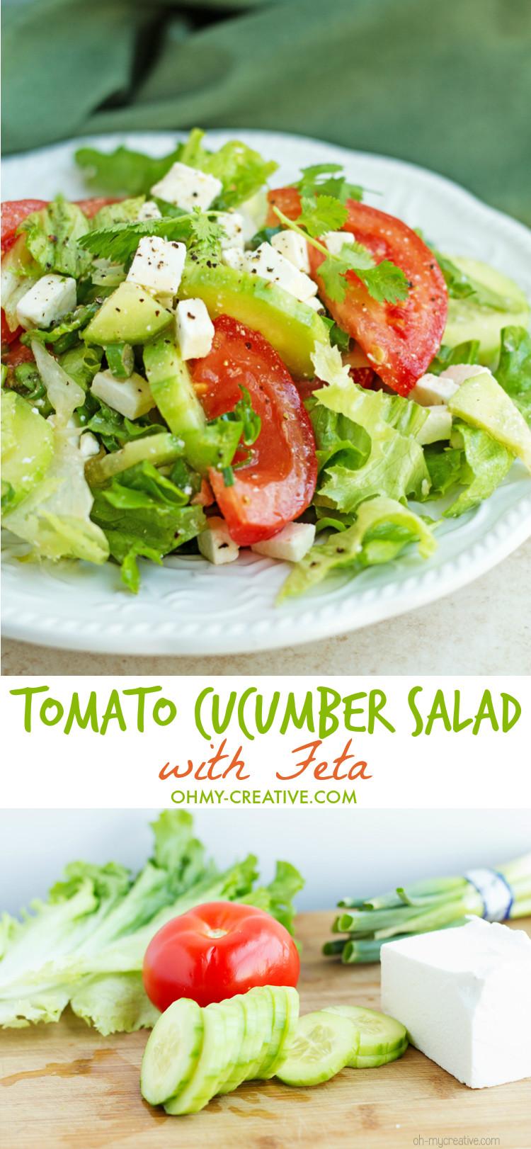 Tomato Salad Recipe  Tomato Cucumber Salad With Feta Oh My Creative