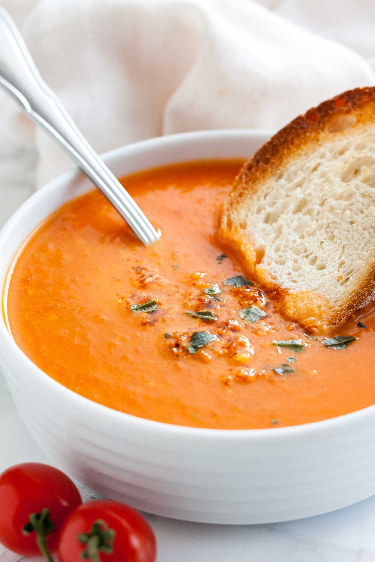 Tomato Soup Recipe  Creamy Roasted Tomato Soup with Basil