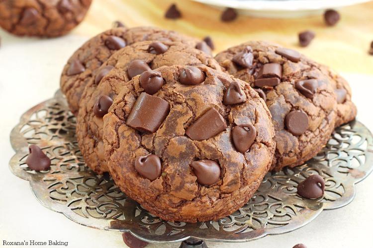 Triple Chocolate Cookies  Soft and chewy triple chocolate fudge cookies recipe