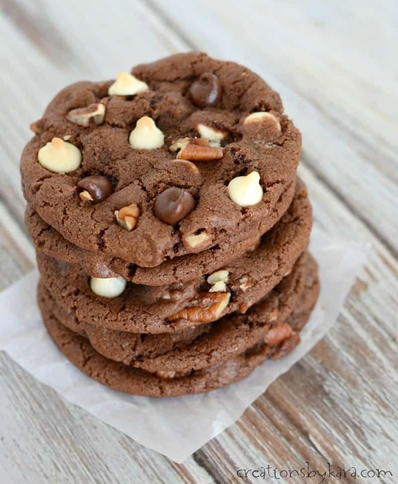 Triple Chocolate Cookies  Triple Chocolate Chocolate Chip Cookies