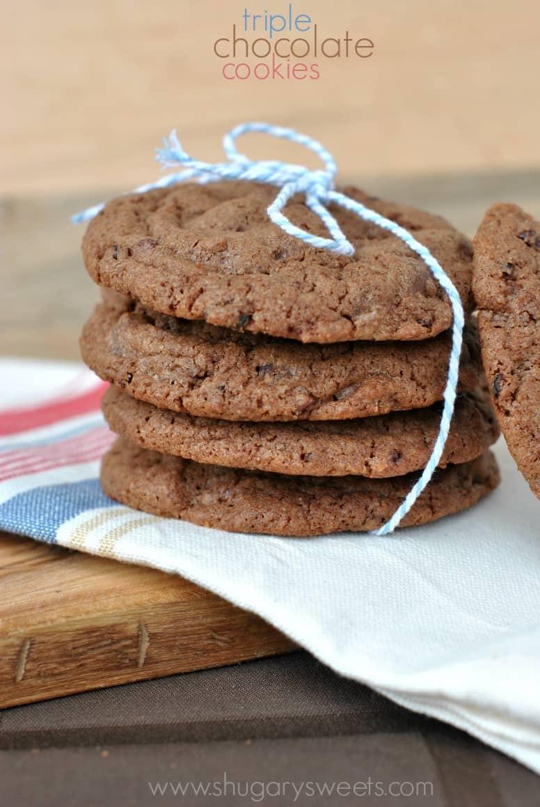 Triple Chocolate Cookies  Triple Chocolate Cookies Shugary Sweets