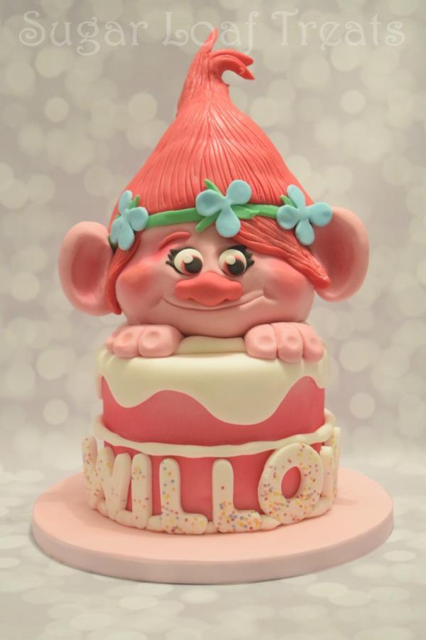 Troll Birthday Cake  Poppy Troll Cake cake by SugarLoafTreats CakesDecor
