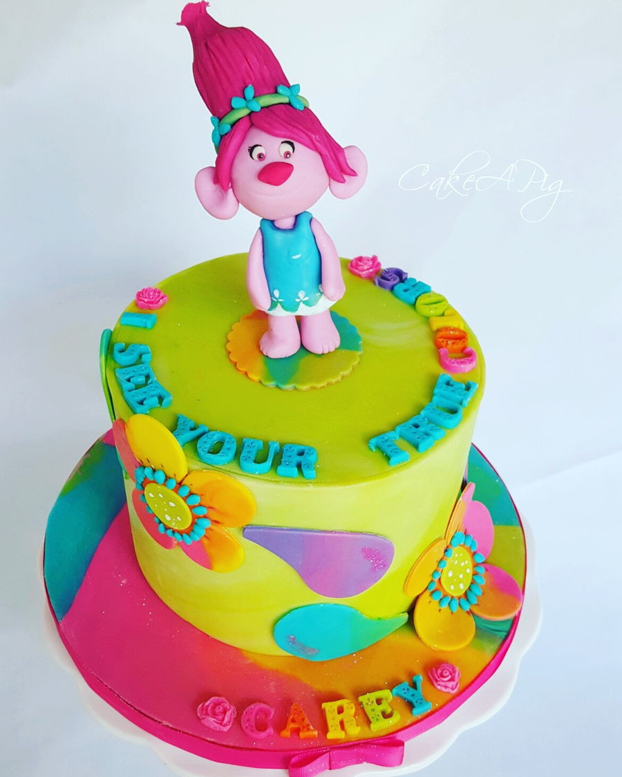 Troll Birthday Cake  Trolls Cake CakeCentral