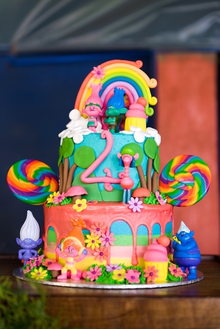 Troll Birthday Cake  Kara s Party Ideas Trolls Birthday Party