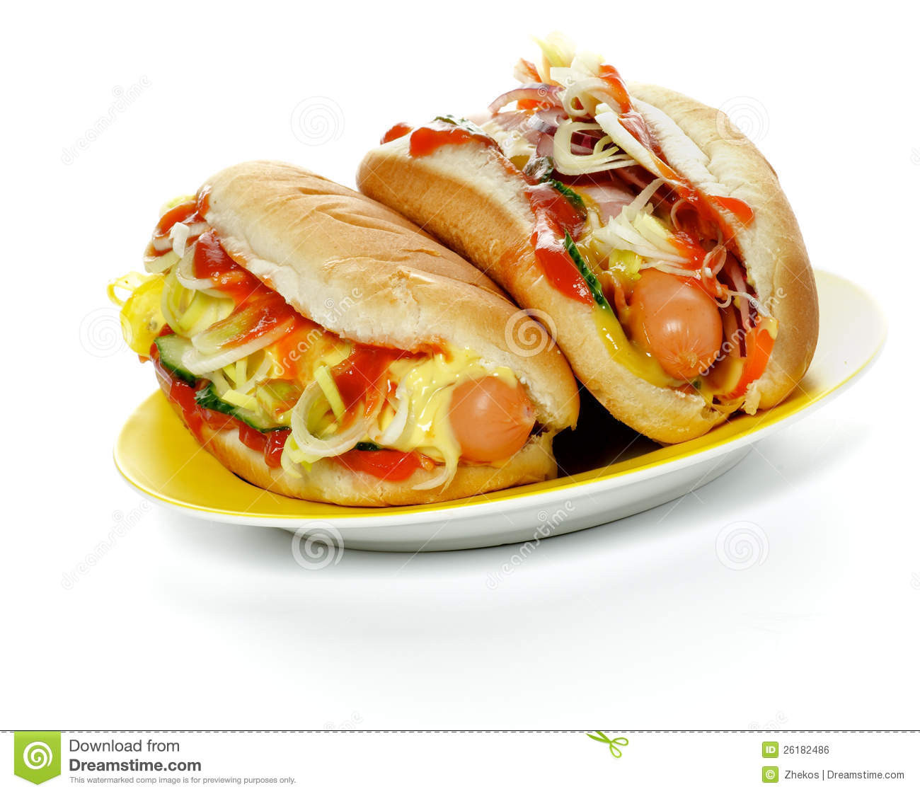 Two Hot Dogs  Two Hot Dogs stock photo Image of ketchup ripe to