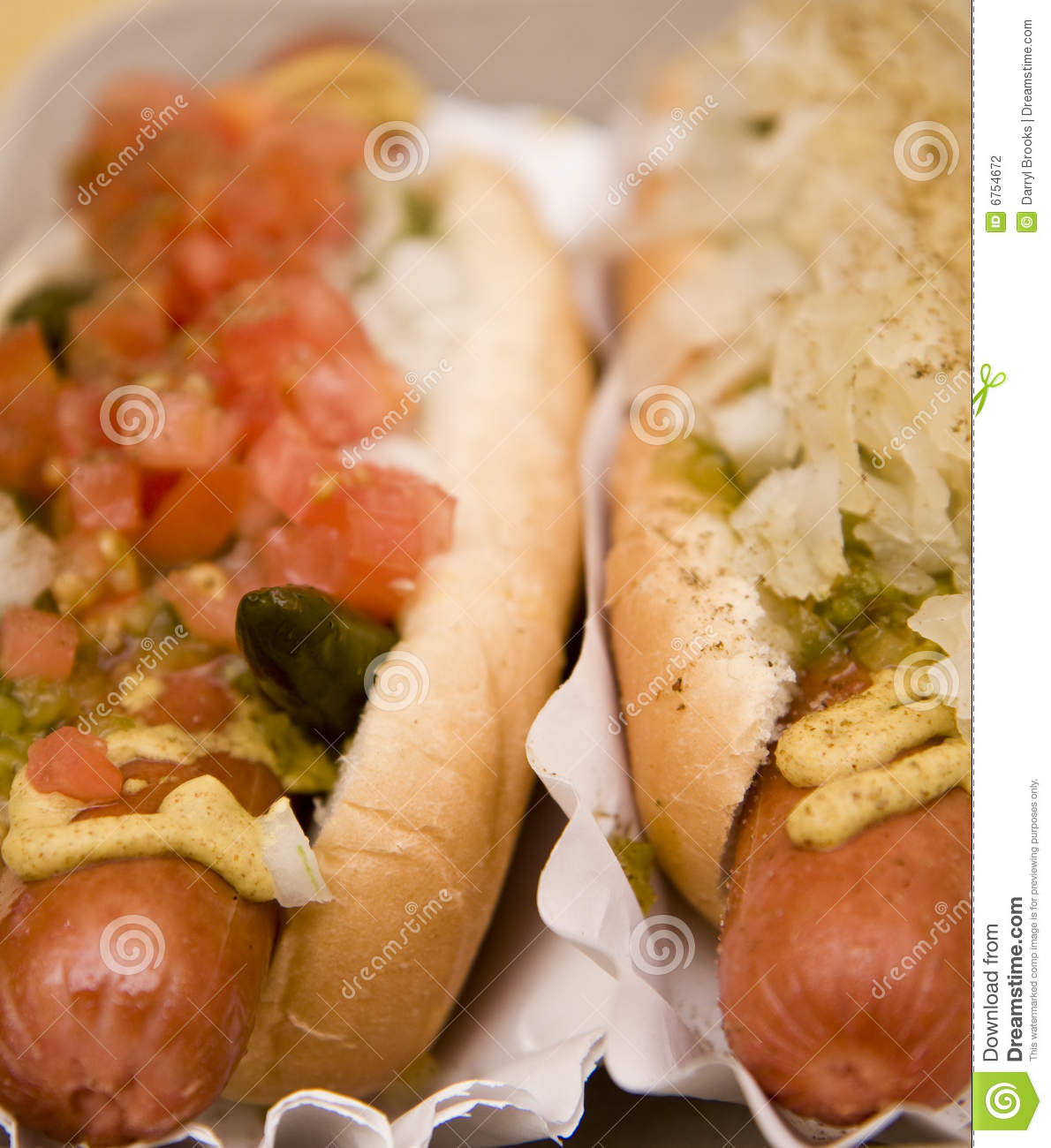 Two Hot Dogs  Two Hot Dogs Stock graphy Image