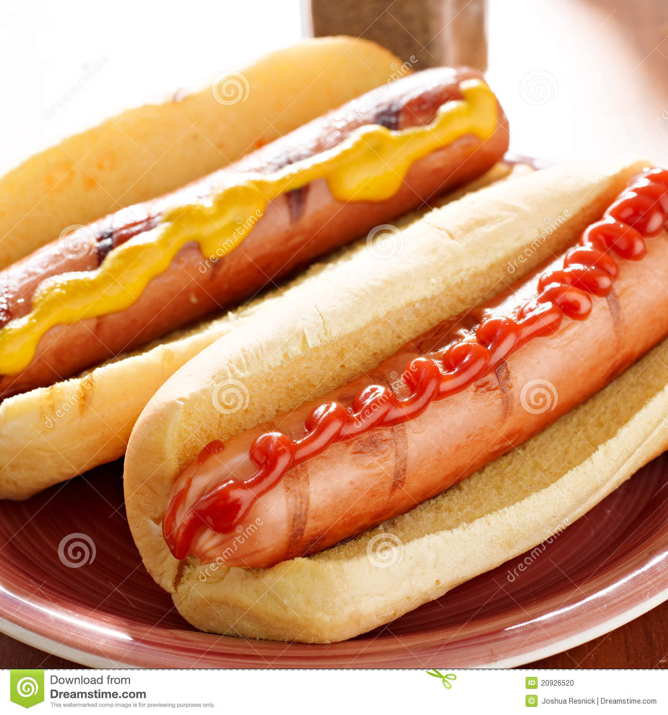 Two Hot Dogs  Two Hot Dogs With Condiments Stock Image