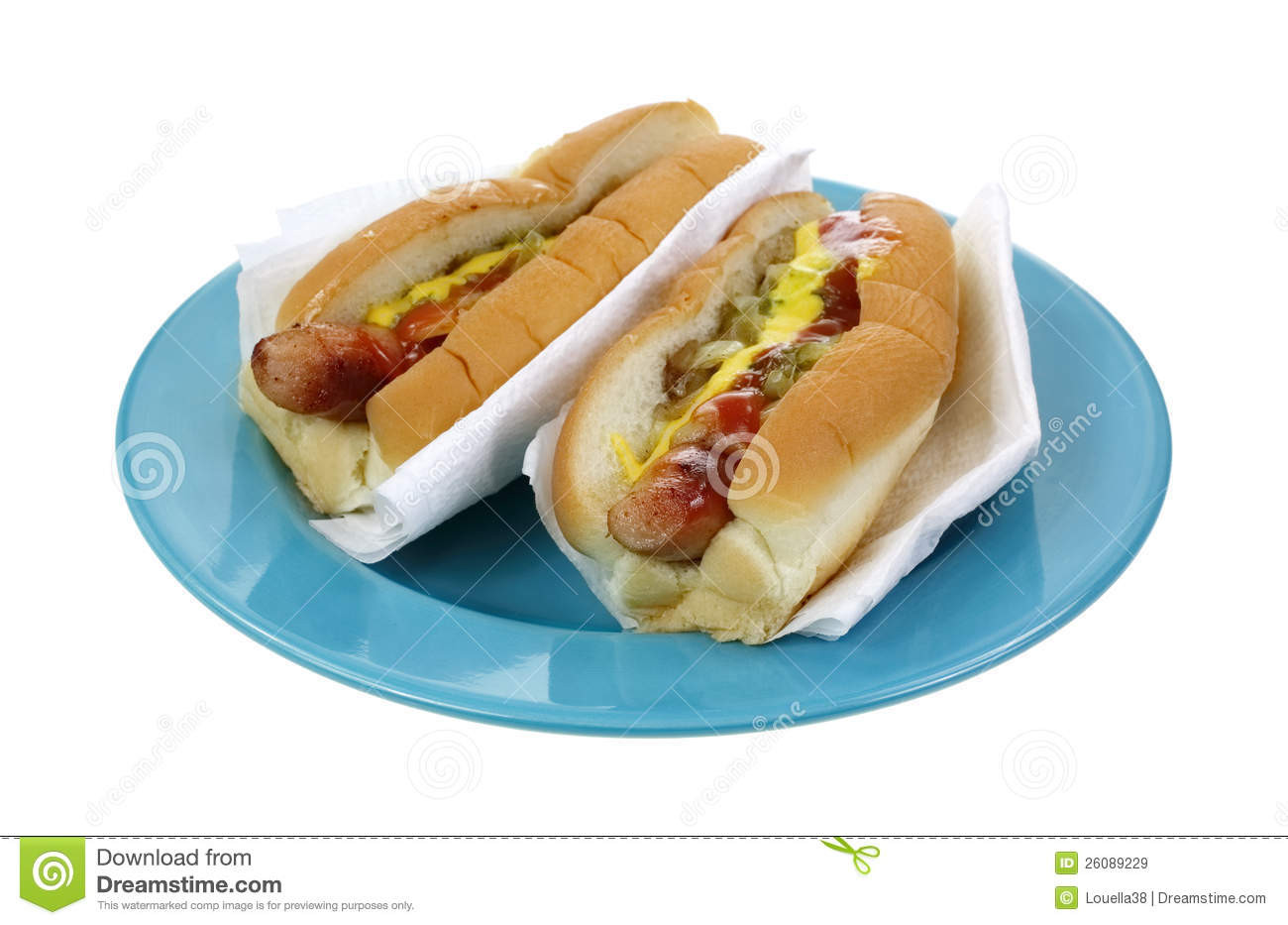 Two Hot Dogs  Two Hot Dogs With Mustard Royalty Free Stock Image
