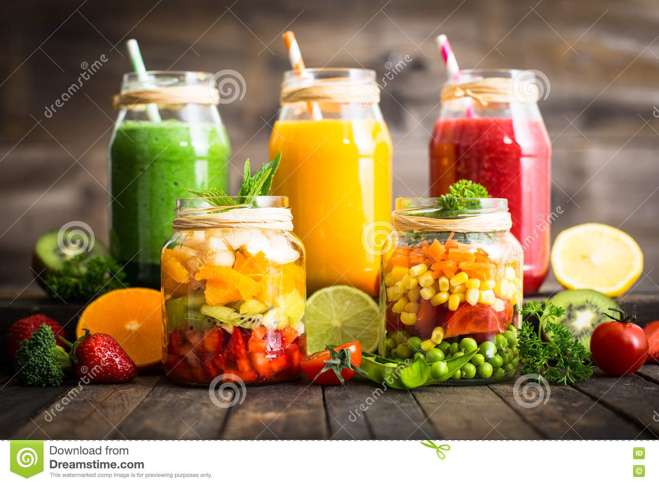 Veg And Fruit Smoothies  Healthy Fruit And Ve able Salad And Smoothies Stock
