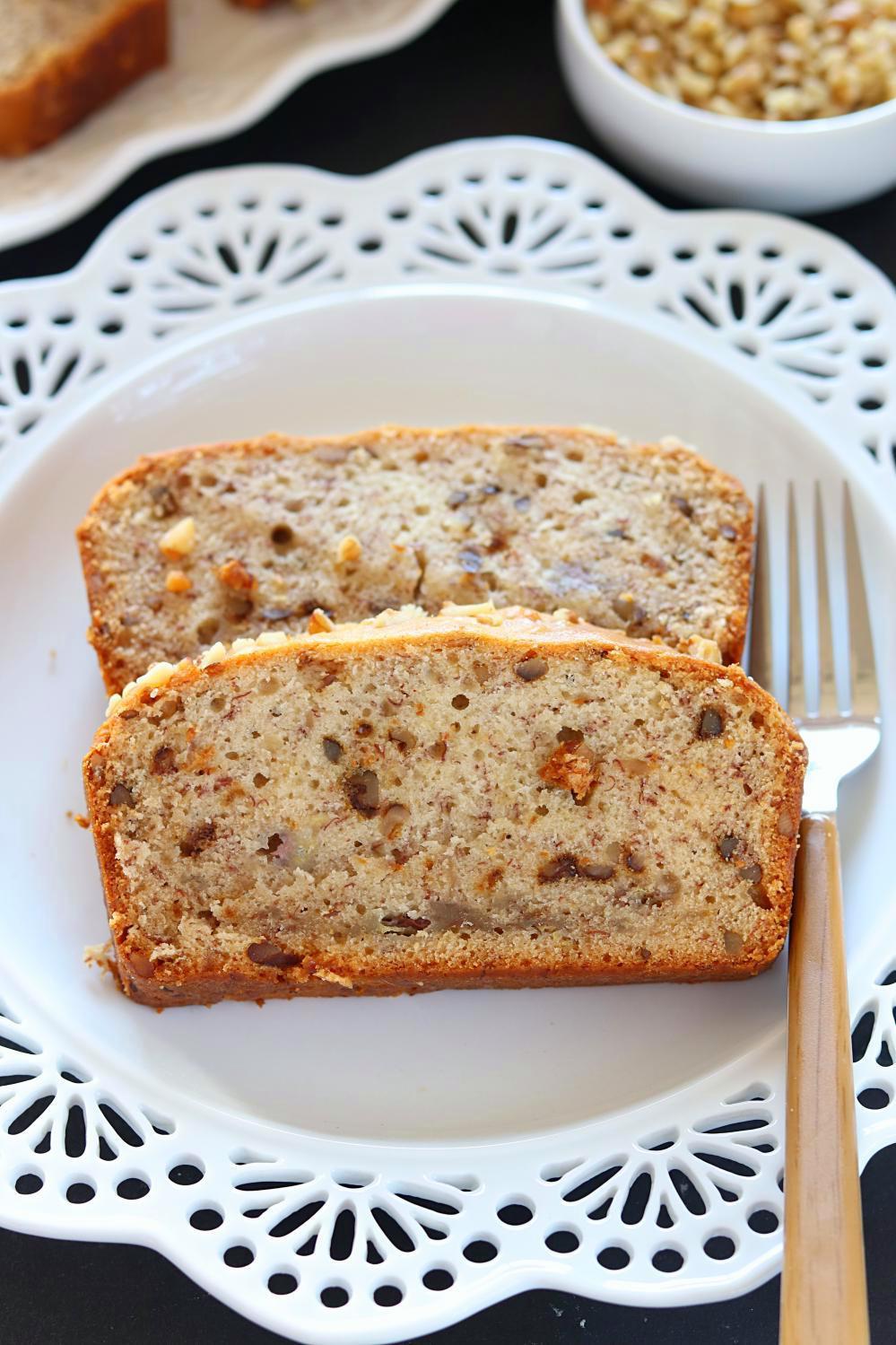 Vegan Banana Bread Recipe  Vegan Banana Nut Bread healthy Banana walnut loaf bread