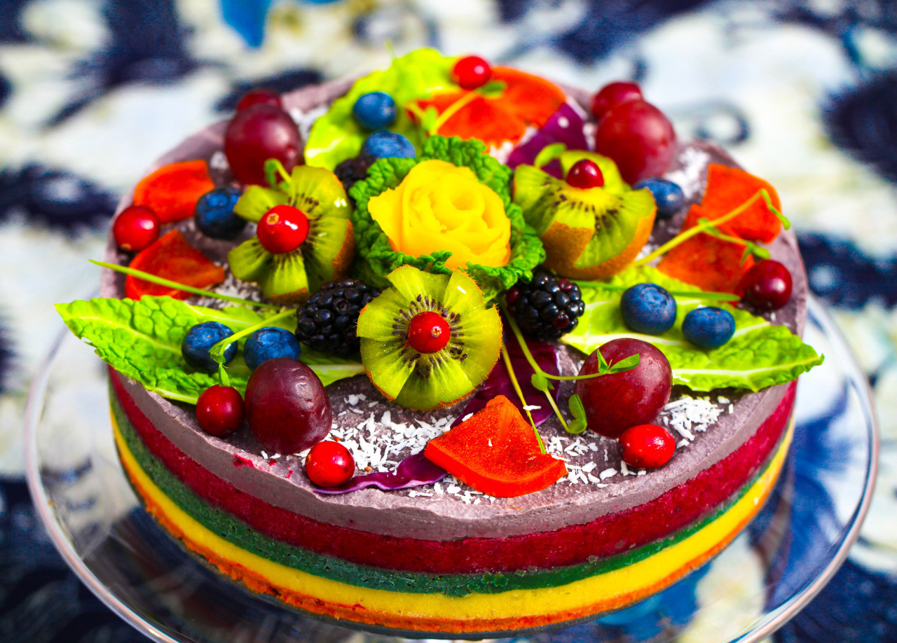 Vegan Birthday Cake  Olenko's Rainbow Raw Vegan Cake This cake is all