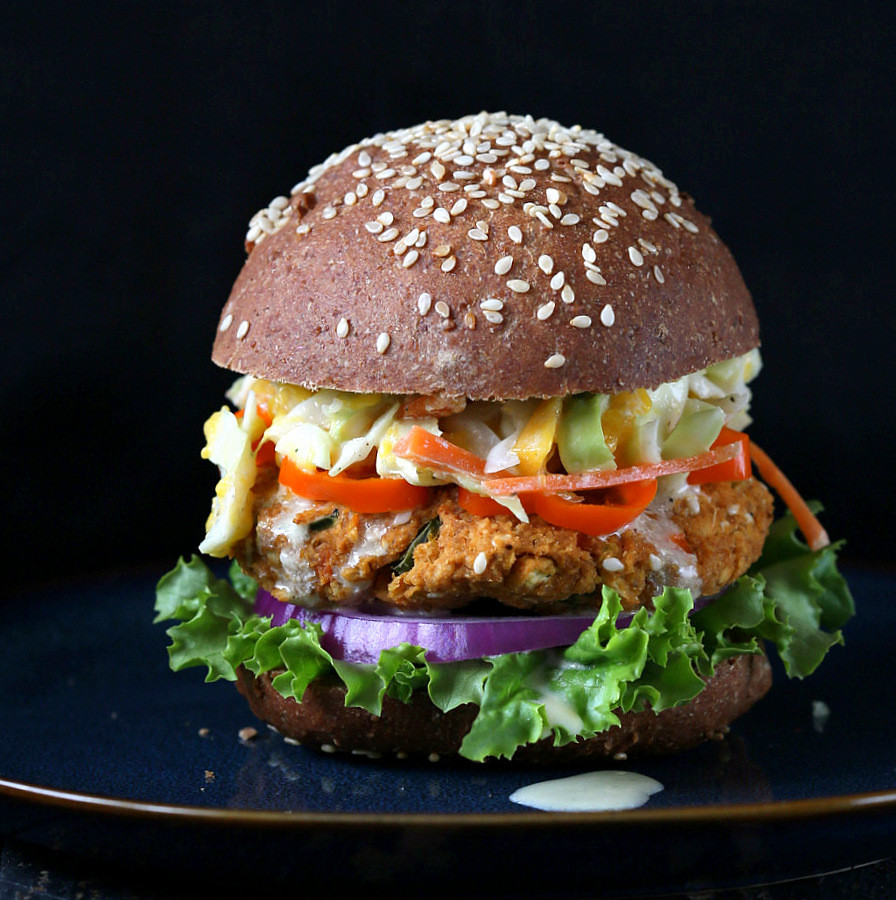 Vegan Burger Recipes  BBQ Lentil Veggie Burger with Mango Carrot Slaw Vegan