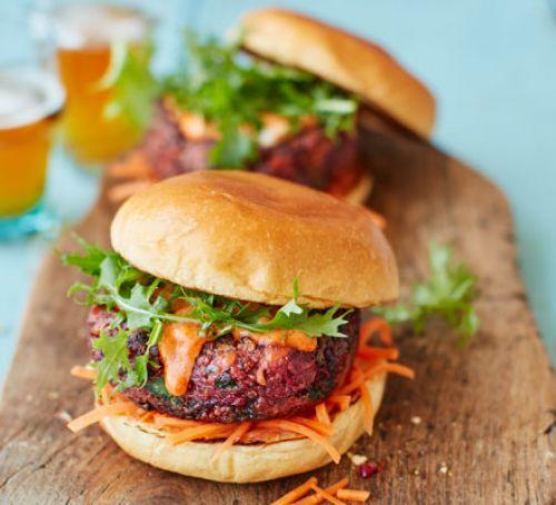 Vegan Burger Recipes  Ultimate veggie burger with pickled carrot slaw recipe