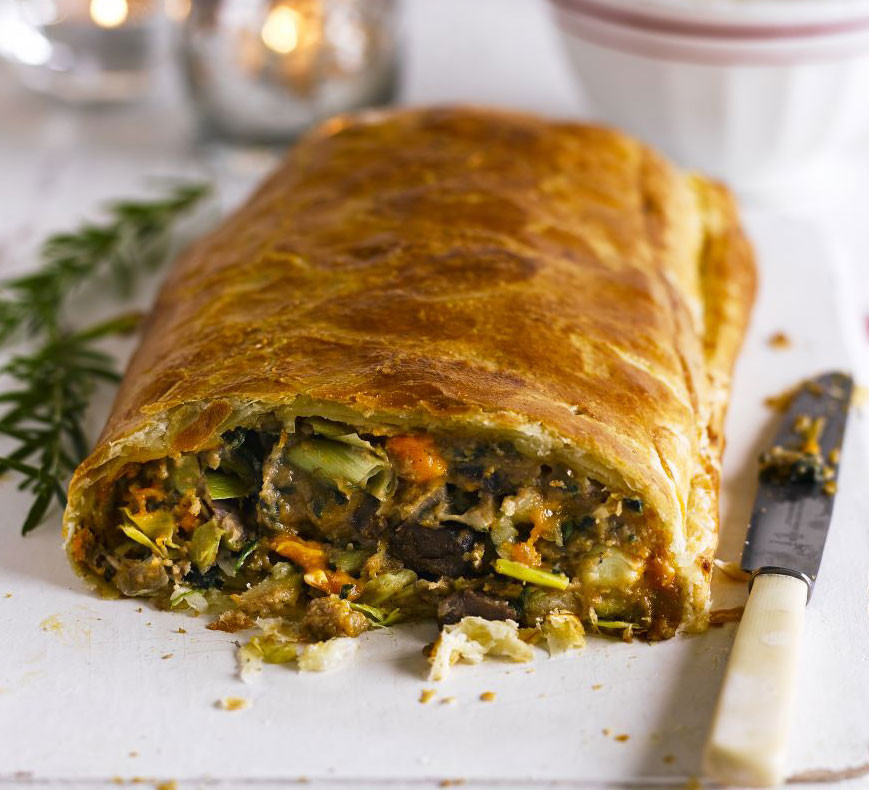 Vegan Christmas Recipes  Chestnut spinach & blue cheese en croûte recipe