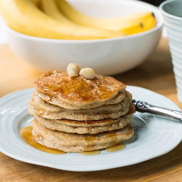 Vegan Oatmeal Pancakes  Vegan Banana Oatmeal Pancakes with Macadamia Nuts Recipe