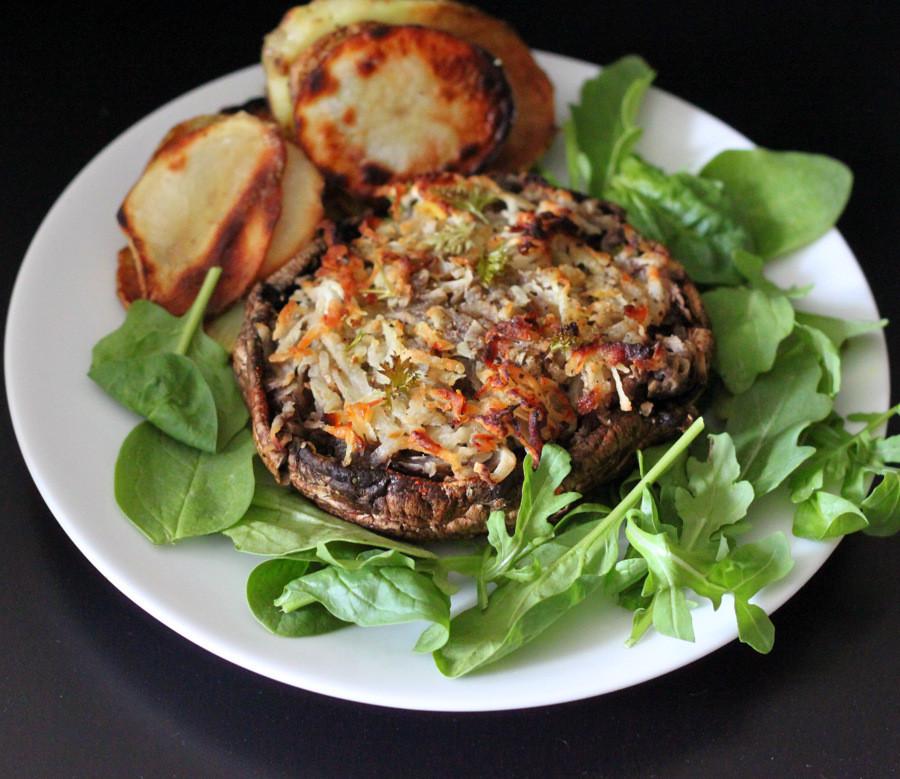 Vegan Portobello Mushroom Recipes  Portabella stuffed with Hash browns Vegan Glutenfree