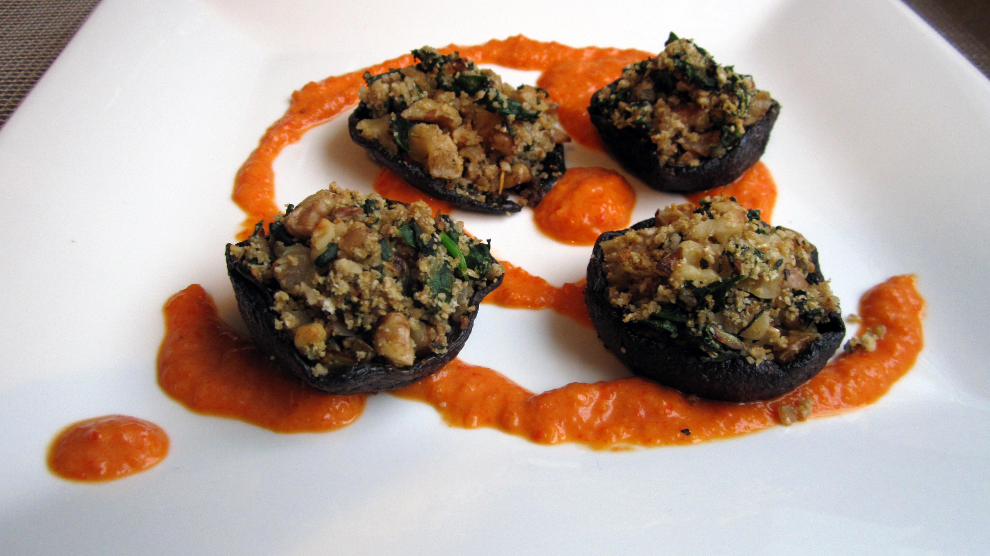 Vegan Portobello Mushroom Recipes  Stuffed Portobello Mushrooms W Roasted Red Pepper Coulis