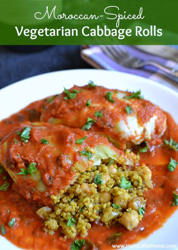 Vegetarian Cabbage Rolls  Moroccan Spiced Ve arian Cabbage Rolls by Ginnie Leeming