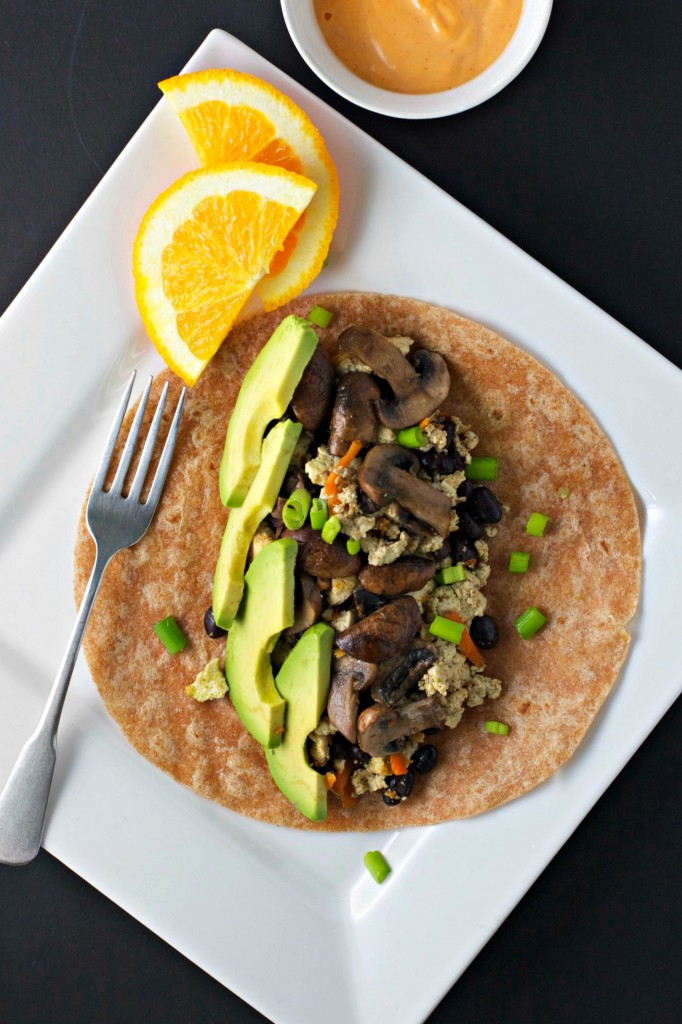 Vegetarian Protein Breakfast  mushroom and avocado breakfast burrito BeginWithin Nutrition