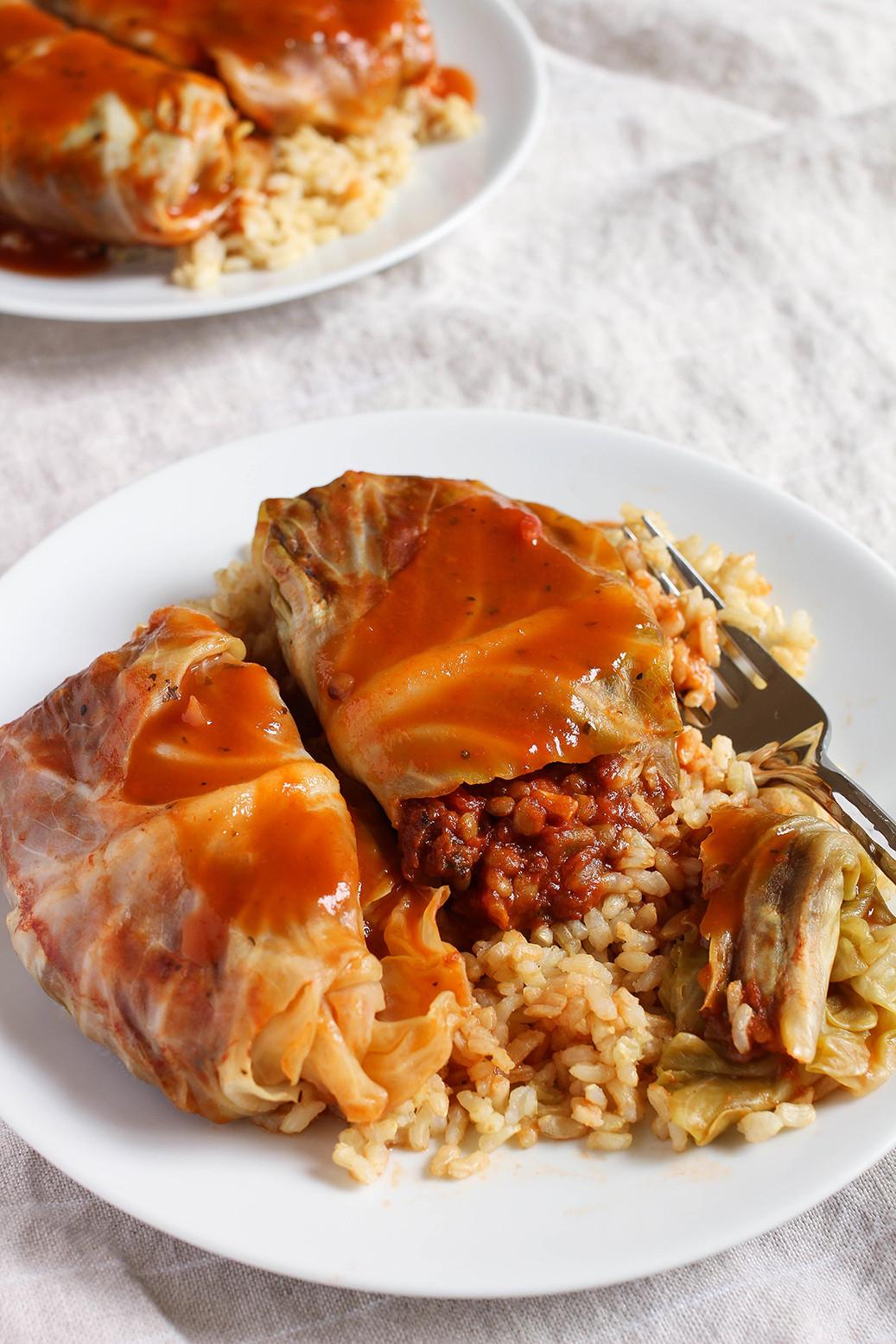 Vegetarian Stuffed Cabbage  Lentil Bolognese Stuffed Cabbage Rolls