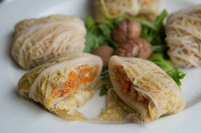 Vegetarian Stuffed Cabbage  Ve arian stuffed cabbage with chestnuts parsnips and