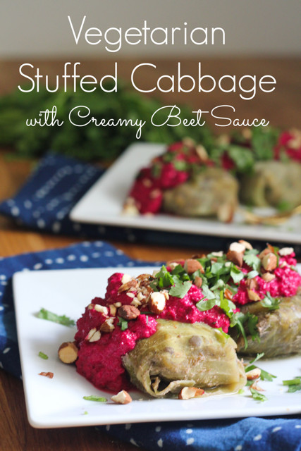 Vegetarian Stuffed Cabbage  Ve arian Stuffed Cabbage with Creamy Beet Sauce What