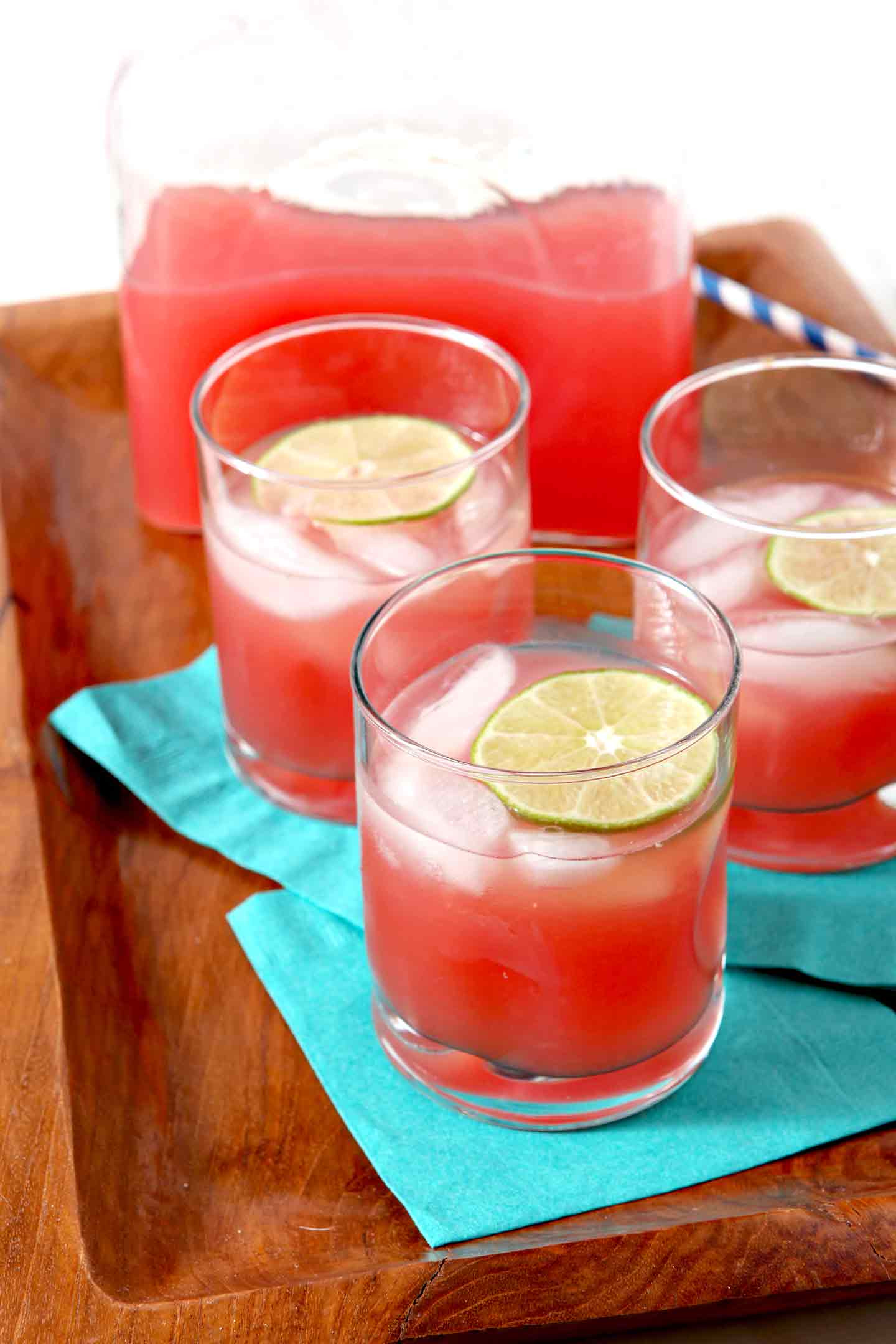 Vodka Watermelon Drinks  Spiked Watermelon Limeade is the BEST summertime pitcher