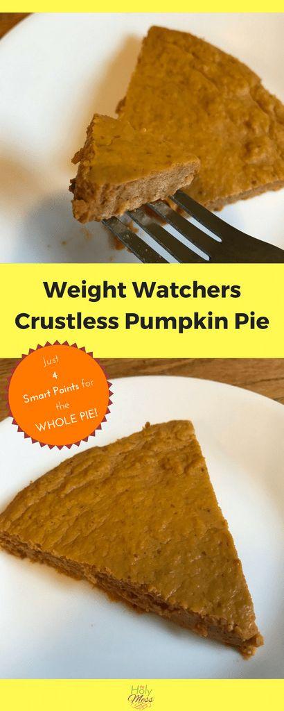 Weight Watchers Crustless Pumpkin Pie  Weight watcher points recipes you ll love on Pinterest