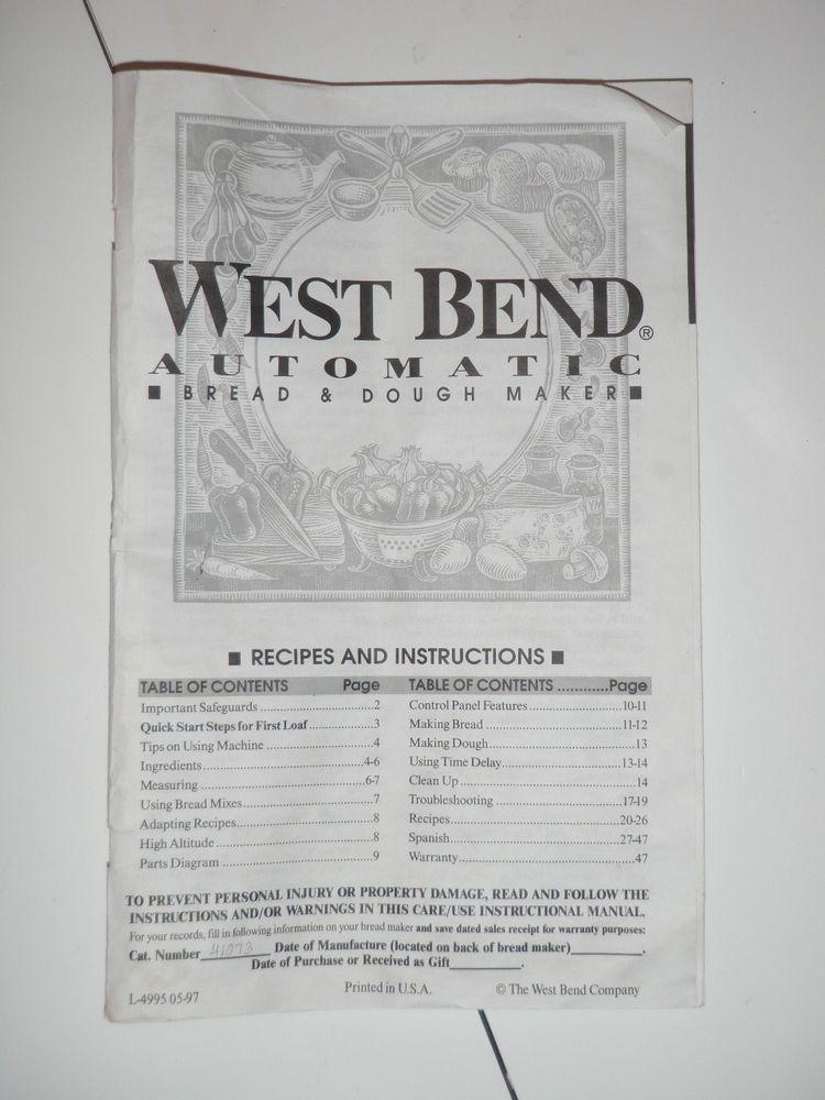 West Bend Bread Maker Recipes  West Bend Bread Machine Manual & Recipes BMPF 1