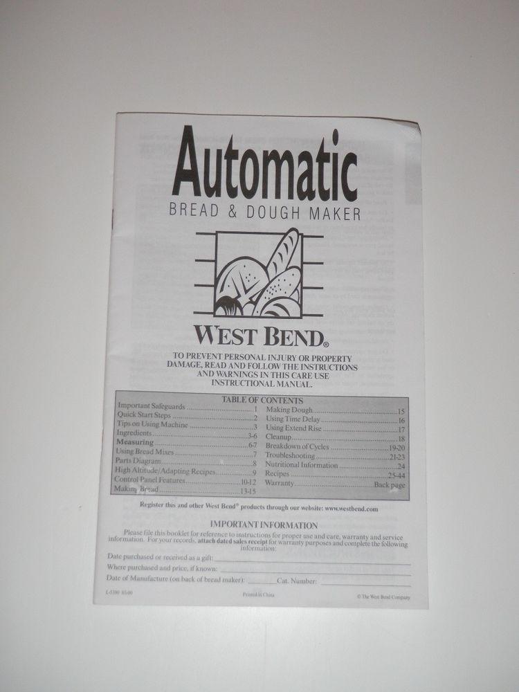 West Bend Bread Maker Recipes  West Bend Bread Machine Manual & Recipes BMPF