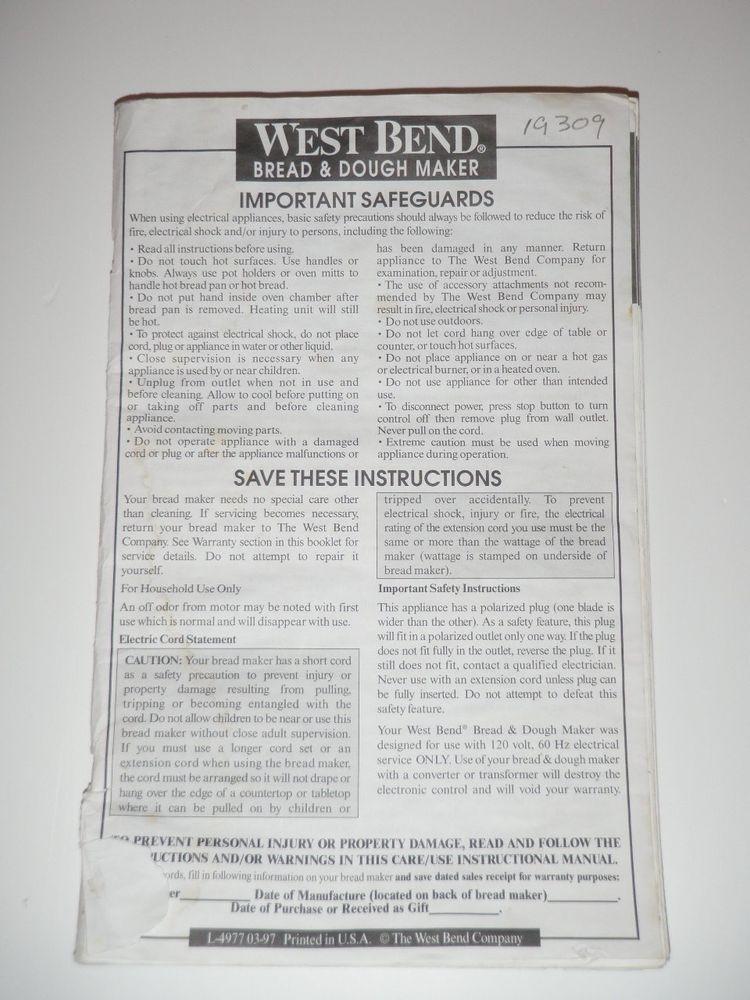 West Bend Bread Maker Recipes  West Bend Bread Machine Manual & Recipes 410 BMPF