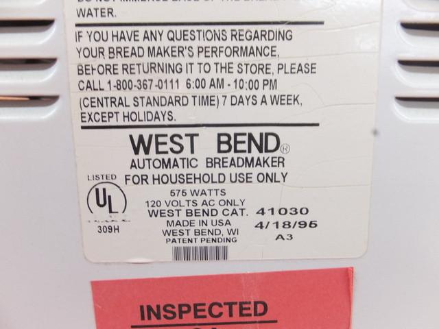 West Bend Bread Maker Recipes  Lot Detail WEST BEND AUTOMATIC BREADMAKER