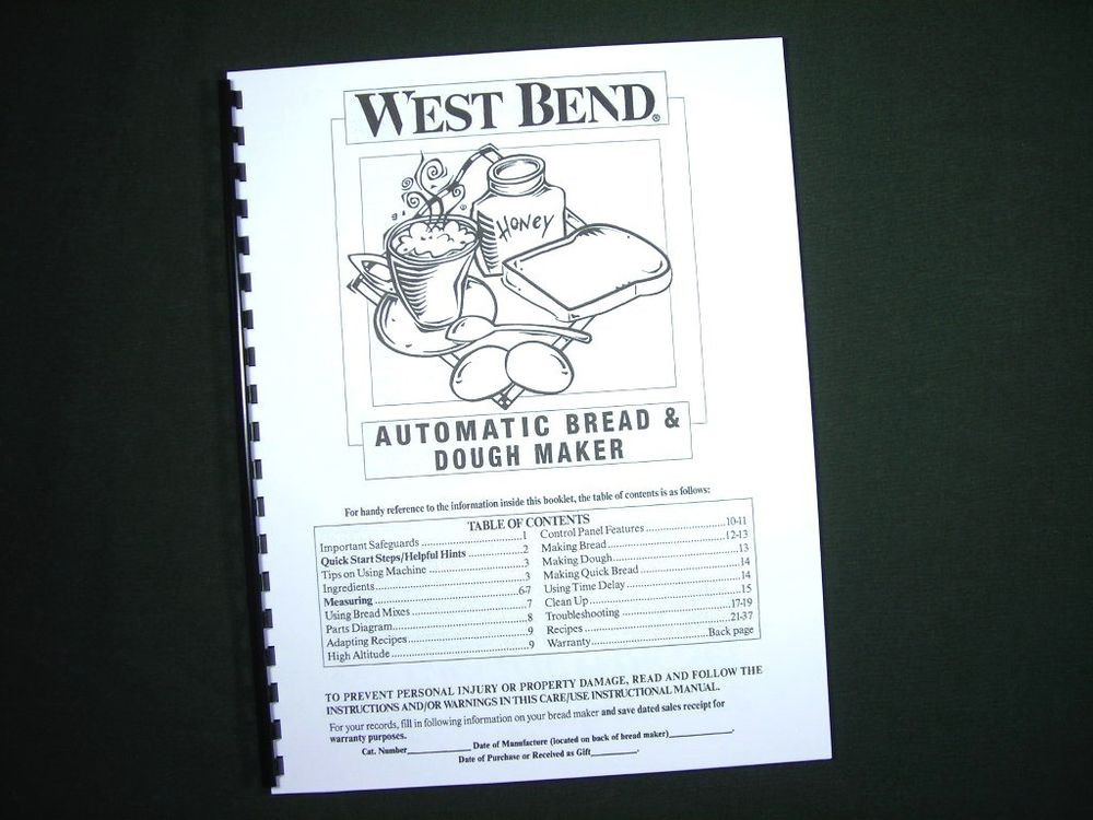 West Bend Bread Maker Recipes  West Bend Bread Maker Machine Instruction Manual w