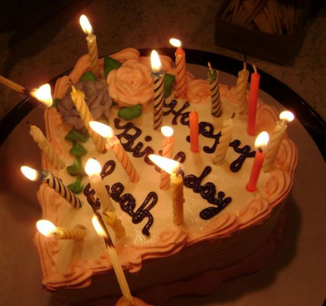 When Did Adding Candles To The Birthday Cake Originated  Heart shaped cream birthday cake with lit candles JPG 1