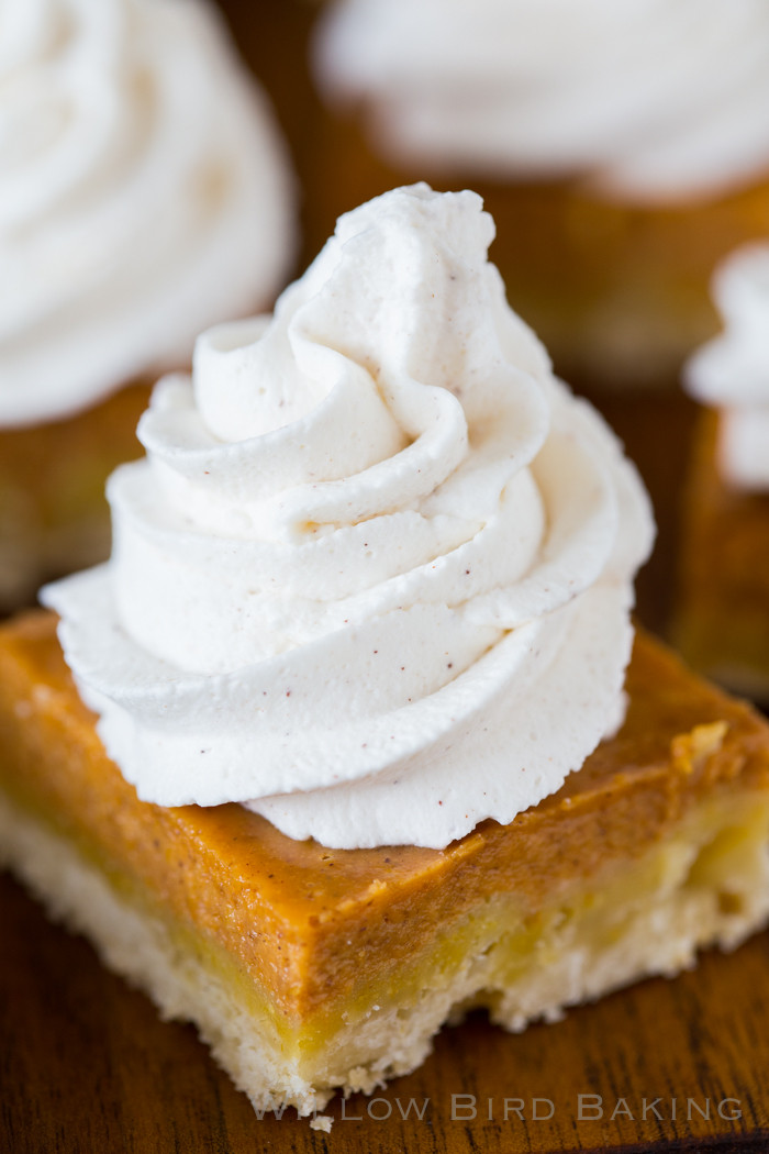 Whipped Cream Desserts  Pumpkin Pie Shortbread Bars with Maple Cinnamon Whipped